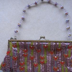 Evening Clutch Purse Beaded Violet Satin USED